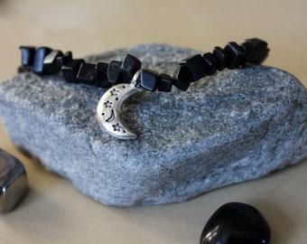 Black Jasper Moon Bracelet, Jasper Bracelet, Moon Bracelet, Crystal Jewelry, Jasper Jewelry, Crystal Bracelet, Healing Jewelry