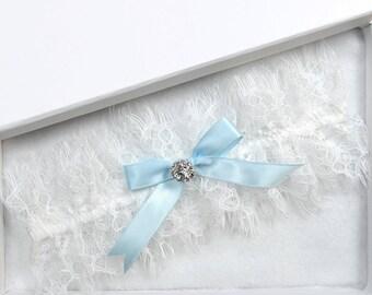 Wedding Garter, Bridal Garter, White Garter, White Wedding Garter, Blue Wedding Garter, White Eyelash Lace Garter, Blue Garter