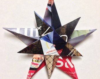 Origami Two Star Ornament - Made of Upcycled Magazine Pages