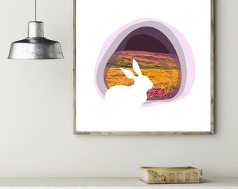 "Modern Wall Art, Mid Century Art, Abstract Print, Bunny Art, Rabbit Art, Lavender Art, Spring Art, Purple Art, ""The Bunny Side of Spring"""