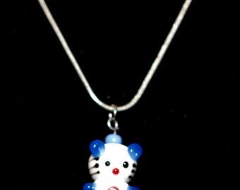 Children Blown Glass Teddy Bear Necklace