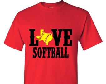 Love Softball Softball Bling State Softball