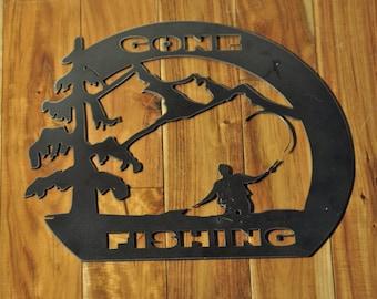 Gone Fishing Metal Art