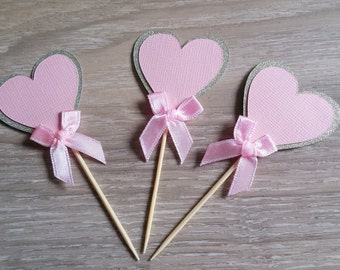 Heart Cupcake Toppers,12 Pink and gold heart cupcake toppers with bow, Pink and gold glitter, wedding, bridal shower, baby shower