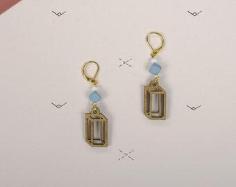 Wood WOODEARZ Cube Geometric earrings
