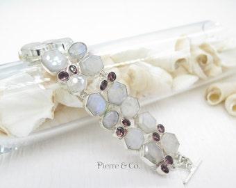 Moonstone and Amethyst Silver Bracelet