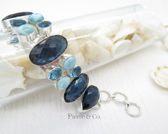 London Blue Topaz and Larimar Sterling Silver Bracelet