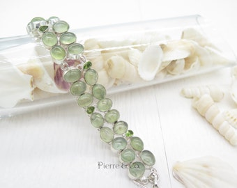 Prehnite and Peridot Sterling Silver Bracelet