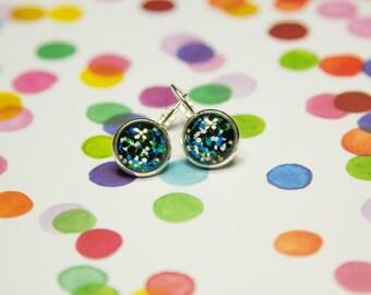 Static in Blue/Green, Drop Lever Earrings