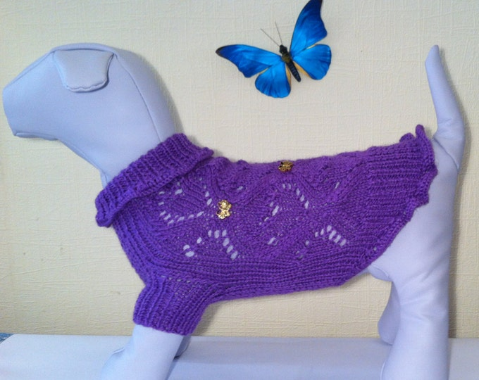 Knit Cute Spring Summer Sweater For Dog. Handmade Knit Clothes For Pets. Size M