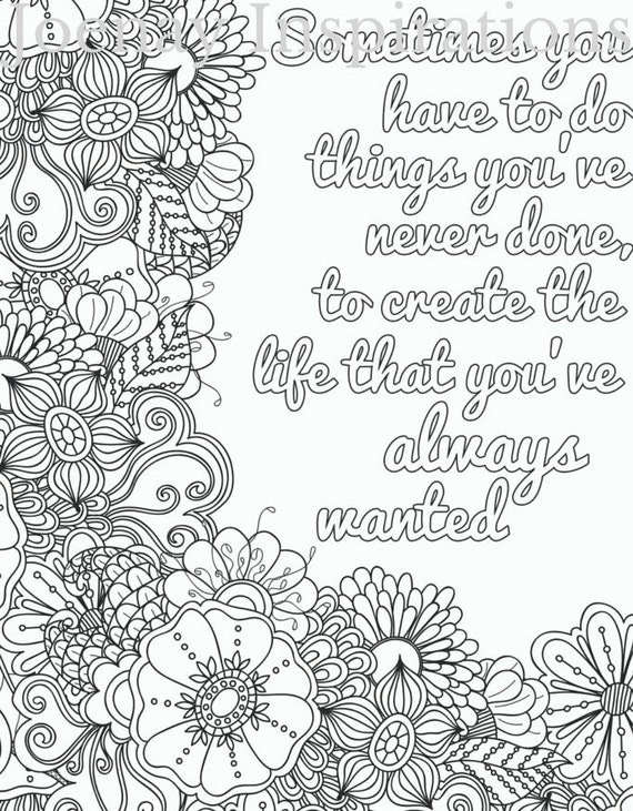 Adult Coloring Book Printable Coloring Pages, Coloring Pages, Coloring Book for Adults Instant Download Inspiration and Affirmation 3 page 1
