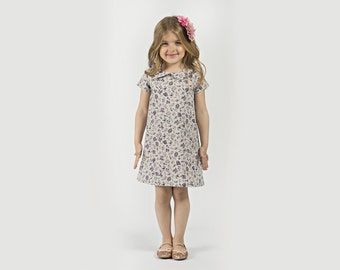 "Girls Peter Pan Collar Dress in Sizes 2 to 9 Years -- The ""Mary-Jane"" Dress in Sprig"