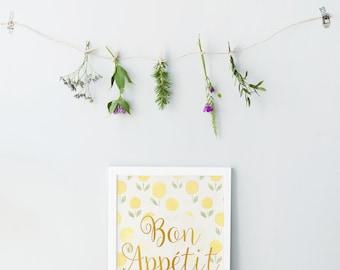 Bon appétit print - Rustic lemon background - Gold foil typography print - Kitchen wall art - Kitchen posters - Kitchen wall art - Yellow