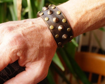 Studded Leather Bracelet , Chunky Studded Wristband,  Studded Brown Cuff, Spartacus Bracelet, Hercules