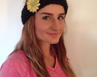 Black crocheted headband with flower