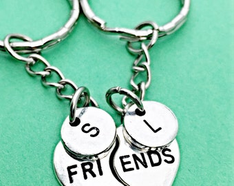 Best friend keychain - set of 2, personalized keychain, initial keychain, customized,initial charm,bff keychain, 2bff,  gift for best friend