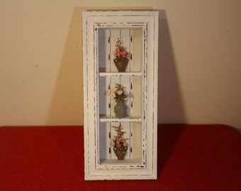 Primitive Shadow Box Floral Display Case Vintage Rack Glass Front 3 Tier Shabby Chic Wall Decor