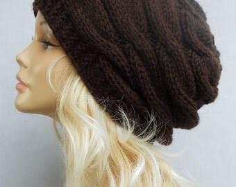 Slouchy beanie, wool knit beanie, beanies, beanie, Chunky knit beanie, Brown slouchy beanie, slouchy knit hat, slouch hat, knit beanie