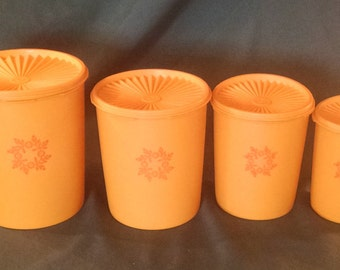 Vintage Tupperware, Vintage servilier, canister set, Tupperware yellow orange canister set, Tupperware,  canister set, 1970s kitchen, kitsch