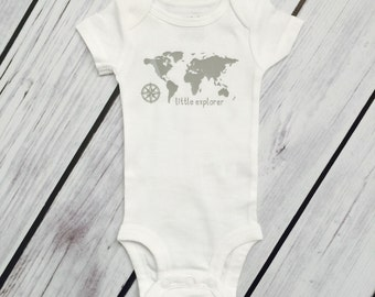Little Explorer World Map White Baby Bodysuit or Layette Baby Gown - 17 design color choices