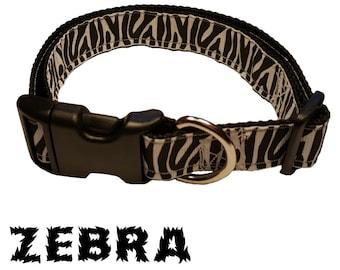 Zebra Print Dog Collar