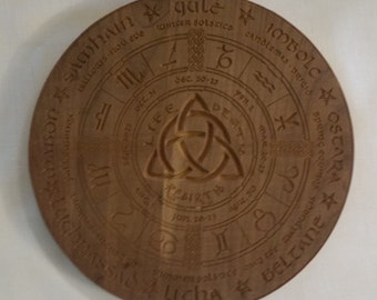 Wiccan / Pagan Wheel of the Year Calendar Wood Reclaimed Aromatic Cedar