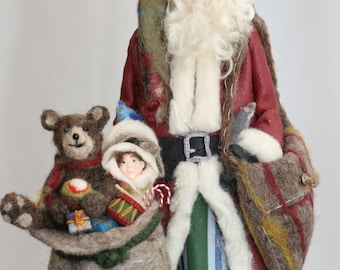 Old World Santa, Polymer Clay and Felted Wool