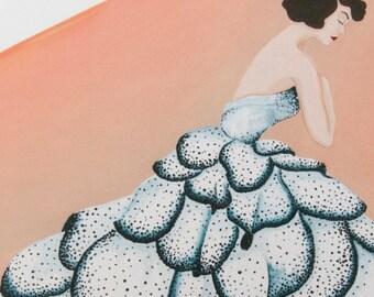 "Dior ""Junon dress"", art print, from original acrylic painting, home decor"