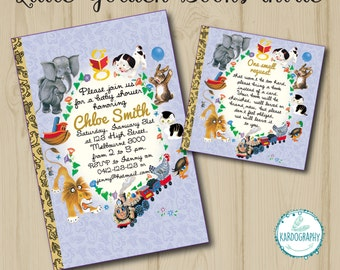 Little Golden Books Invitation - Book Instead of Card Insert and/or Thank You Card. Baby Shower & Birthday Wording. Digital File/Printable.