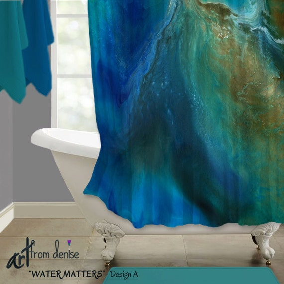 Blue Shower Curtain Abstract Art Aqua Turquoise Teal Brown