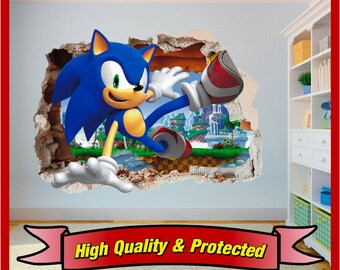 Sonic The Hedgehog Hole In Wall Art Stickers Decal Childrens Bedroom Boys  And Girls Nice Look