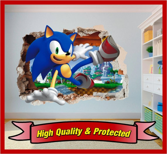 Sonic the hedgehog hole in wall art stickers decal childrens - Sonic wall decals ...