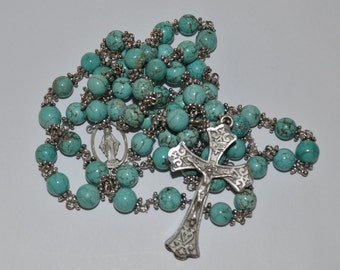 Turquoise Dyed Howlite Rosary
