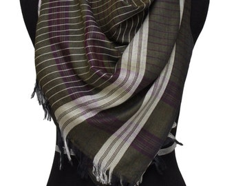 Brown and purple checkered square scarf