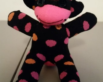 Neon Pink Polka-Dot Sock Monkey (Small)