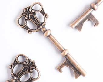 50 Key Bottle Openers, Vintage Skeleton Keys, Rustic Wedding Favors, Party Favors, Antique Copper, Victorian, Alice in Wonderland Crowns