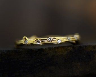 9 ct / 14 ct / 18 ct Yellow Gold Diamond Twig Wedding Band Ring -  Stacking Ring - Diamond Wedding Band Ring - Twig Ring -Hand Made to Order