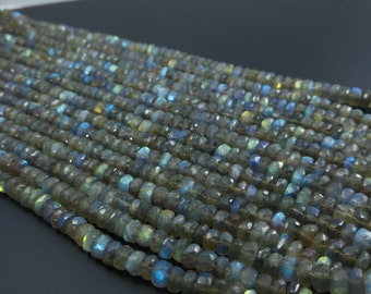 "Natural Labradorite beads -EXTRA LONG 16"" Inches- Labradorite Fine faected Beads 6mm Rondelles - Rondelle Beads- Gemstone beads"