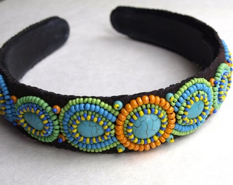 Beaded headband, Unique Jewelry,  Bead Embroidered, Beadwork headband