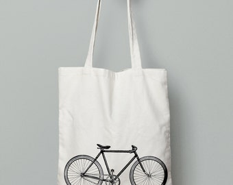 Bicycle tote bag, vintage bike tote, canvas tote bag