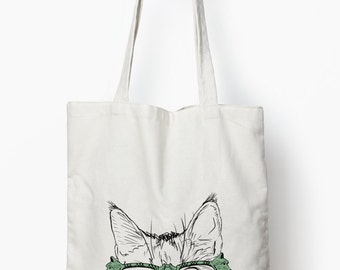 cat wearing glasses tote bag, funny cat bag, canvas tote bag, cat gift