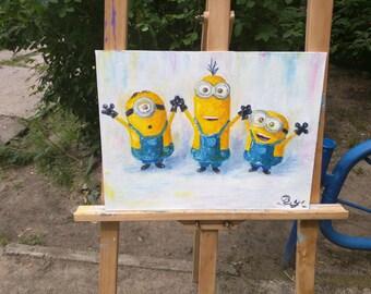 """Minions oil painting. Three minions. 16""""x12"""", 30x40 cm. Children's room art"""