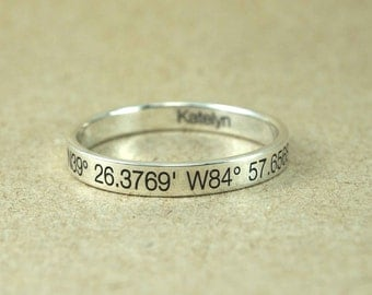Custom Coordinate Jewelry - Engraved Ring Personalized Ring - Coordinates Ring, Personalized Latitude Longitude Jewelry,925 Sterling Silver