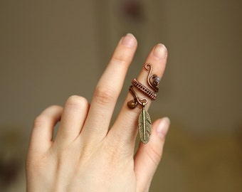 Bohemian Gypsy Pixie Faerie Ring Hippy Antique Feather