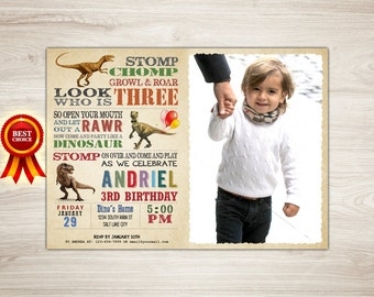 Boy Birthday Invitation, Dinosaur Invitation, Boy Dinosaur 3rd Birthday Invitation, Photo Dinosaur Printable Dinosaur Invite Dinosaur Party