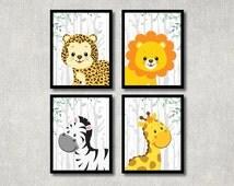 Safari Animals Set - Nursery Printable, Jungle Theme, Children Wall Art, New Baby Gift, Animal Play Room Decor, Baby Boy Nursery