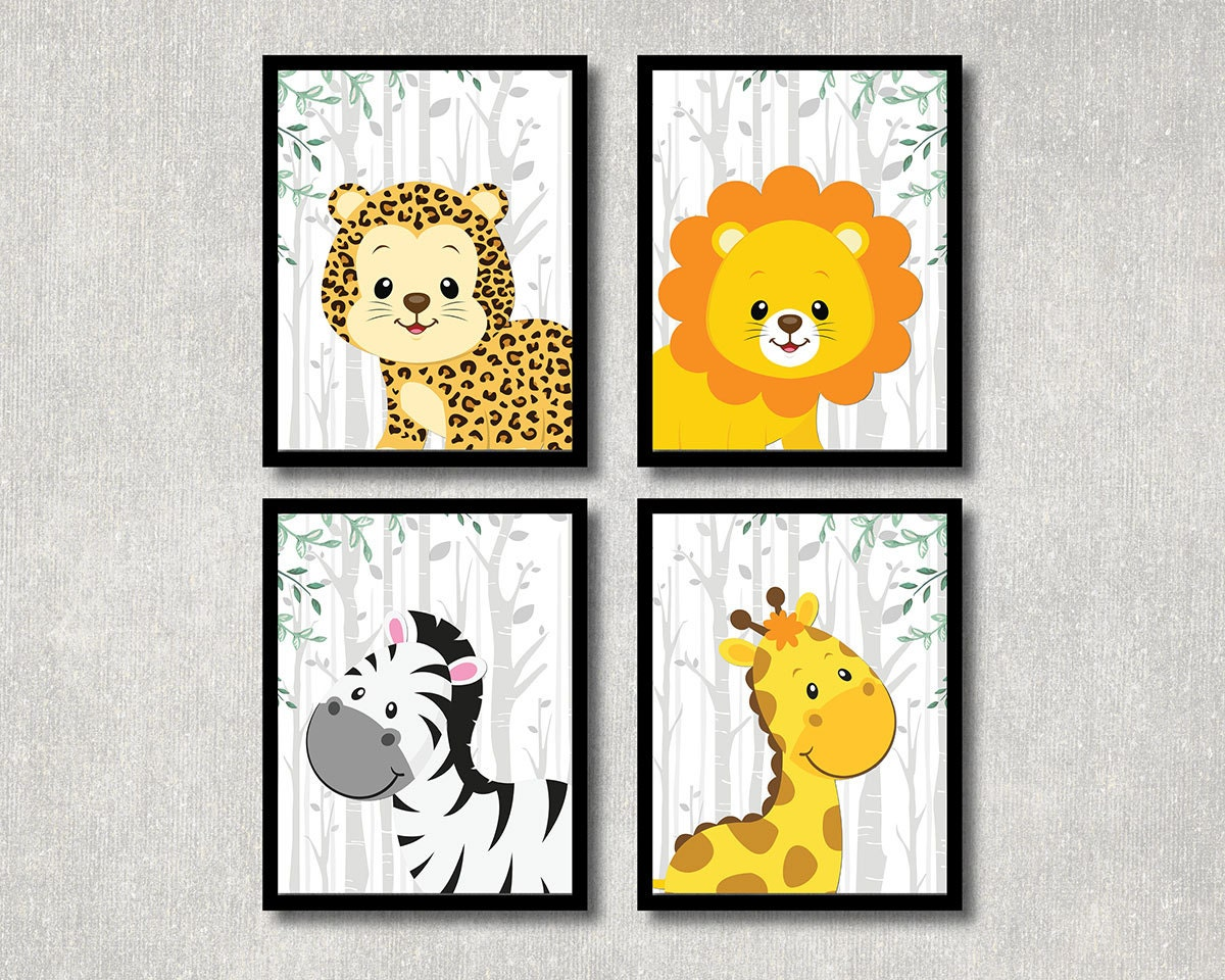 Jungle Wall Decor For Nursery : Safari animals set nursery printable jungle theme children