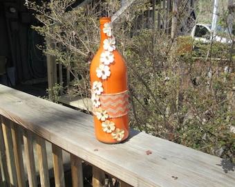 Orange Chevron Burlap Upcycled Wine Bottle