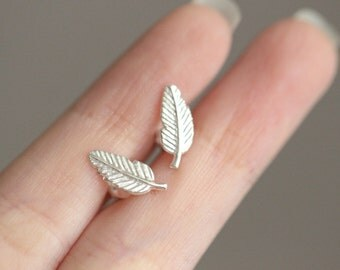 Silver Leaf Earrings, Simple Leaf Earrings, Tiny Leaf Stud, Leaf Stud Earrings, Leaf Earrings, Leaf Ear Studs, Leaf Jewelry