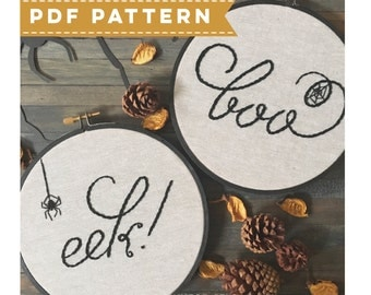 Halloween PDF Embroidery Pattern. Hoop Embroidery Pattern. DIY Embroidery. Halloween Wall Decor. DIY Spooky Home Decor. Boo & Eek Sign
